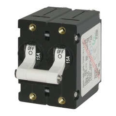 A-Series White Toggle Circuit Breaker - Double Pole 15A