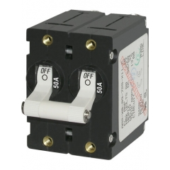 A-Series White Toggle Circuit Breaker - Double Pole 50A